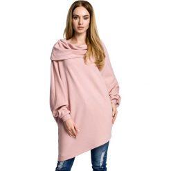 Bluzy damskie: Pudrowa Bluza Nietoperz z Wywijanym Kołnierzem