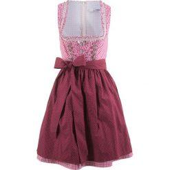 Krótka sukienka ludowa z fartuchem bonprix jeżynowy w kratę. Czerwone sukienki mini bonprix, z krótkim rękawem. Za 349,99 zł.