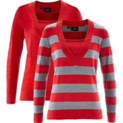 Sweter (2 szt. w opak.) bonprix truskawkowy w paski + truskawkowy. Czerwone swetry klasyczne damskie bonprix, z dekoltem w serek. Za 89,98 zł.