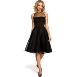 Sukienki: Wieczorowa sukienka z tiulowym dekoltem - czarna