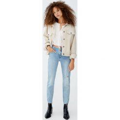 Jeansy skinny fit capri. Niebieskie jeansy damskie relaxed fit marki Pull&Bear. Za 79,90 zł.