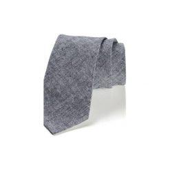 Krawat męski LINO len. Szare krawaty męskie HisOutfit, ze lnu. Za 129,00 zł.