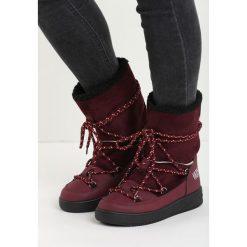 Bordowe Śniegowce Moonlight Dance. Czerwone buty zimowe damskie Born2be, z materiału, z okrągłym noskiem, na platformie. Za 79,99 zł.