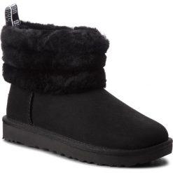 Buty UGG - W Fluff Mini 1098533 W/Blk. Szare buty zimowe damskie marki Ugg, z materiału, z okrągłym noskiem. Za 919,00 zł.