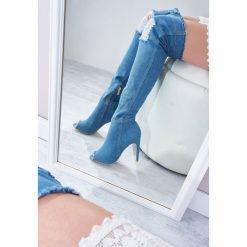 Niebieskie Kozaki Denim Style. Niebieskie buty zimowe damskie vices, z denimu, na wysokim obcasie. Za 109,99 zł.