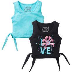 Bluzki dziewczęce z nadrukiem: Top z wiązaniem z boku (2 szt.) bonprix czarny + morski