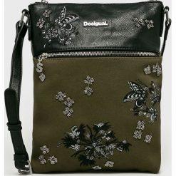 Desigual - Torebka. Szare torebki klasyczne damskie Desigual, z haftami, z bawełny, średnie, z haftem. Za 249,90 zł.