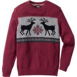 Swetry męskie: Sweter z okrągłym dekoltem Regular Fit bonprix jeżynowy