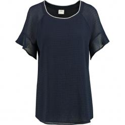 Bluzka w kolorze granatowym. Niebieskie bluzki longsleeves Taifun, w geometryczne wzory, z okrągłym kołnierzem. W wyprzedaży za 108,95 zł.