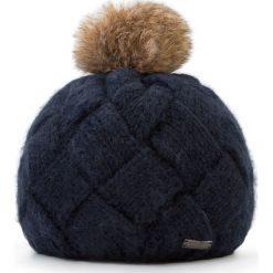 Czapka damska 87-HF-031-N. Niebieskie czapki zimowe damskie marki Wittchen, na zimę, z dzianiny. Za 119,00 zł.