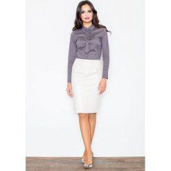 Spódniczki: Klasyczna Elegancka Ołówkowa Spódnica w Kolorze Ecru