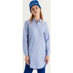 Długa koszula w paski - Niebieski. Koszule w niebieskie paski Sinsay, l, z długim rękawem. Za 79,99 zł.