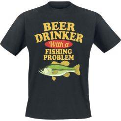 T-shirty męskie z nadrukiem: Beer Drinker With A Fishing Problem T-Shirt czarny