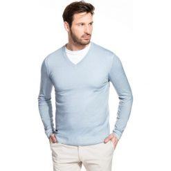 Sweter MARTINO SWNS000095. Niebieskie swetry klasyczne męskie Giacomo Conti, m, z wełny, z klasycznym kołnierzykiem. Za 229,00 zł.