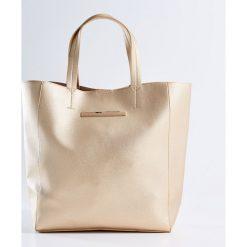 Kosmetyczki damskie: Duża torba shopper z kosmetyczką - Złoty