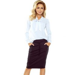 Biała Bluzka Elegancka z Wiązaną Szarfą. Białe bluzki asymetryczne Molly.pl, l, z jeansu, biznesowe, z długim rękawem. Za 109,90 zł.