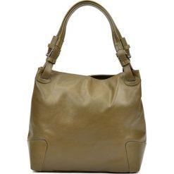 Torebki klasyczne damskie: Skórzana torebka w kolorze zielonym – (S)22,5 x (W)34 x (G)8,5 cm