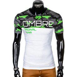 T-SHIRT MĘSKI Z NADRUKIEM S1003 - ZIELONY/MORO. Zielone t-shirty męskie z nadrukiem Ombre Clothing, m. Za 35,00 zł.