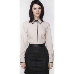 Bielizna damska: Beżowa Biznesowa Koszula z Czarną Lamówką