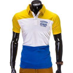 KOSZULKA MĘSKA POLO Z NADRUKIEM S513 - ŻÓŁTA. Żółte koszulki polo Ombre Clothing, m, z nadrukiem, z bawełny. Za 19,99 zł.