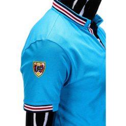 KOSZULKA MĘSKA POLO Z NADRUKIEM S849 - TURKUSOWA. Niebieskie koszulki polo Ombre Clothing, m, z aplikacjami. Za 29,00 zł.