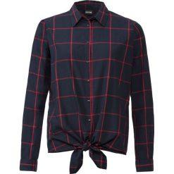 Bluzka w kratę bonprix niebiesko-czarny w kratę. Szare bluzki z odkrytymi ramionami marki Top Secret, w kwiaty. Za 109,99 zł.