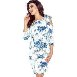 Bonita sukienka z pęknięciem na ramieniu gałązka chaber. Niebieskie sukienki asymetryczne Bergamo, z materiału, z asymetrycznym kołnierzem. Za 148,99 zł.