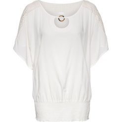 Tunika z koronką bonprix biel wełny. Białe tuniki damskie bonprix, w koronkowe wzory, z koronki. Za 99,99 zł.