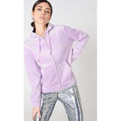 Bluzy damskie: Samsoe & Samsoe Bluza z kapturem na suwak Kaci – Purple