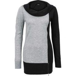 Swetry klasyczne damskie: Sweter bonprix szaro-czarny