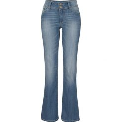 Dżinsy ze stretchem BOOTCUT bonprix niebieski. Niebieskie jeansy damskie bootcut marki bonprix, z nadrukiem. Za 74,99 zł.