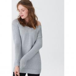 Sweter o metalicznym połysku - Srebrny. Szare swetry klasyczne damskie House, l. Za 89,99 zł.