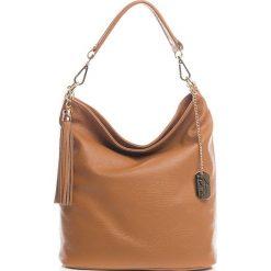 Torebki klasyczne damskie: Skórzana torebka w kolorze jasnobrązowym – 26 x 28 x 12 cm