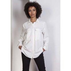 Ecru Koszula Oversize z Kieszeniami. Szare koszule jeansowe damskie marki Molly.pl, l, biznesowe, z długim rękawem. Za 118,90 zł.