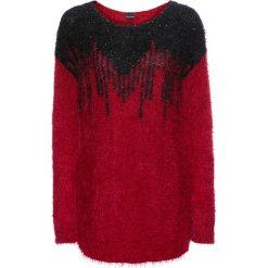 Sweter z cekinami bonprix czerwono-czarny. Czerwone swetry klasyczne damskie bonprix, z dzianiny, z okrągłym kołnierzem. Za 109,99 zł.