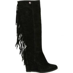 Kozaki ocieplane - 1395 CAM NERO. Czarne buty zimowe damskie marki Kazar, ze skóry, na wysokim obcasie. Za 239,00 zł.