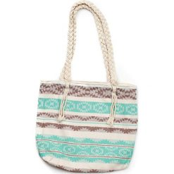 """Torba plażowa """"Heritage"""" w kolorze miętowo-brązowym - 40 x 50 cm. Brązowe shopper bag damskie Begonville, z bawełny. W wyprzedaży za 108,95 zł."""