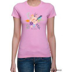 Koszulka damska. kwiaty i ptaki. Niebieskie bluzki z odkrytymi ramionami marki Pakamera, z bawełny. Za 79,00 zł.