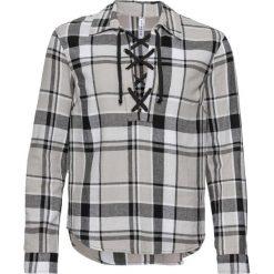 Bluzki, topy, tuniki: Tunika ze sznurowaniem bonprix czarno-biało-jasnoszary w kratę