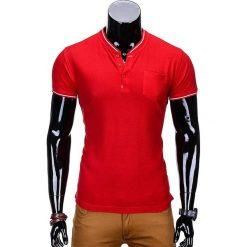 T-SHIRT MĘSKI BEZ NADRUKU S667 - CZERWONY. Czerwone t-shirty męskie z nadrukiem Ombre Clothing, m, z bawełny, ze stójką. Za 35,00 zł.