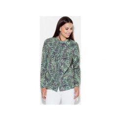 Koszula K400 Wzór 19. Szare koszule jeansowe damskie marki KATRUS, l, z nadrukiem, bez kołnierzyka. Za 119,00 zł.