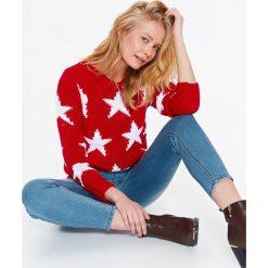 Swetry klasyczne damskie: SWETER DŁUGI RĘKAW DAMSKI, LUŹNY W GWIAZDY