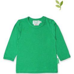 Koszulka w kolorze zielonym. Zielone bluzki dziewczęce bawełniane Toby Tiger, z okrągłym kołnierzem, z długim rękawem. W wyprzedaży za 42,95 zł.
