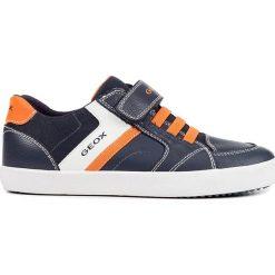 """Sneakersy """"Grisli"""" w kolorze granatowo-pomarańczowym. Niebieskie trampki chłopięce marki geox kids, z gumy. W wyprzedaży za 129,95 zł."""