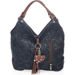 Torebki i plecaki damskie: Skórzana torebka w kolorze granatowym – 40 x 30 x 18 cm