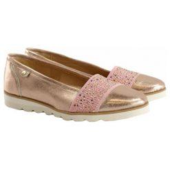 Mokasyny damskie: Skórzane mokasyny w kolorze różowo-złotym