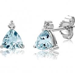 Złote kolczyki-wkrętki z diamentami i akwamarynami. Niebieskie kolczyki damskie REVONI, z akwamarynem, złote. W wyprzedaży za 646,95 zł.