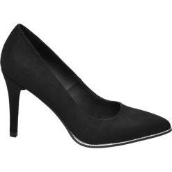 Szpilki damskie Graceland czarne. Czarne szpilki Graceland, w paski, z materiału. Za 99,90 zł.