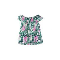 Bluzki asymetryczne: bluzka damska z falbanką we wzory