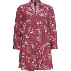 Długa bluzka poszerzana dołem bonprix czerwony mahoniowy - czarny w kwiaty. Białe bluzki longsleeves marki bonprix, w kropki, biznesowe, z kopertowym dekoltem, moda ciążowa. Za 49,99 zł.